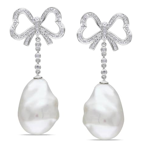 Miadora 14k Gold Pearl and 1/2ct TDW Diamond Earrings (G-H, SI1-SI2)
