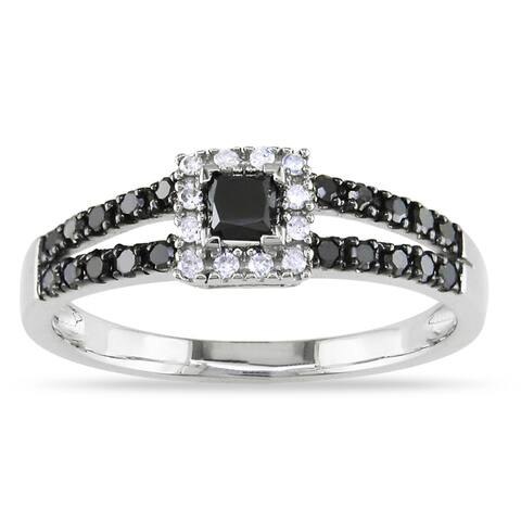 Miadora 10k White Gold 1/2ct TDW Black and White Diamond Halo Split Shank Engagement Ring