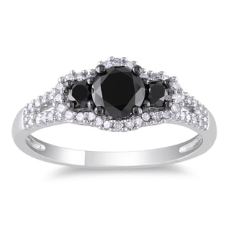 Miadora 14k White Gold 1ct TDW Black and White Diamond 3-stone Halo Split Shank Engagement Ring