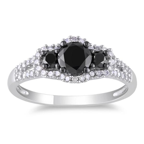 Miadora 14k White Gold 1ct TDW Black and White Diamond 3-stone Halo Split Shank Engagement Ring