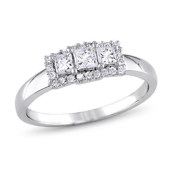 Miadora 10k White Gold 1/2ct TDW Princess-cut Diamond Ring (H-I, I2-I3)