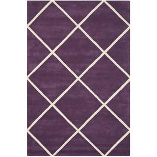Safavieh Handmade Moroccan Purple Wool Geometric Rug (6' x 9')