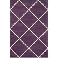 Safavieh Handmade Moroccan Purple Wool Geometric Rug - 6' x 9'