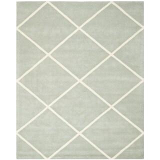 Safavieh Handmade Moroccan Chatham Grey Wool Diamond-Patterned Rug (8' x 10')