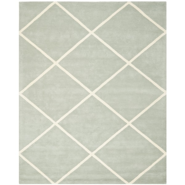 Safavieh Handmade Moroccan Chatham Grey Wool Diamond-Patterned Rug - 8' x 10'