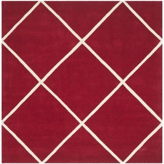 Safavieh Contemporary Handmade Moroccan Red Wool Rug (7' Square)