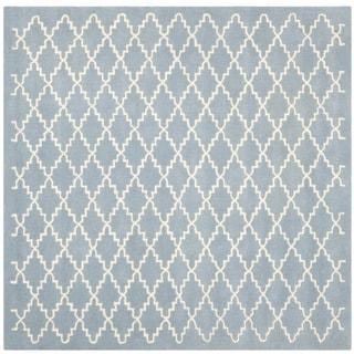 Safavieh Handmade Moroccan Blue Crisscross Pattern Wool Rug (7' Square)