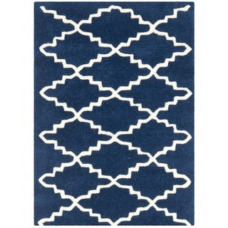 Safavieh Handmade Moroccan Chatham Dark Blue Diamond Wool Rug (2' x 3')