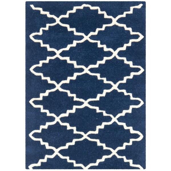 Safavieh Handmade Moroccan Chatham Dark Blue Diamond Wool Rug - 2' x 3'