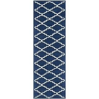 Safavieh Handmade Moroccan Chatham Canvas-backed Dark Blue Wool Rug (2'3 x 7')