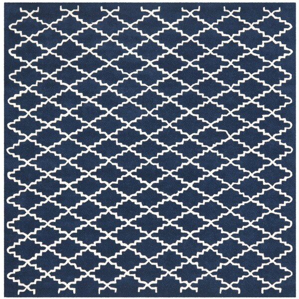 Safavieh Handmade Moroccan Dark Blue Wool Rug with Cotton Canvas Backing (7' Square)