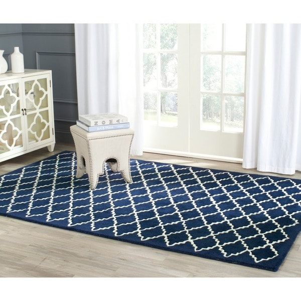 Safavieh Moroccan Blue And Black Area Rug: Safavieh Handmade Moroccan Dark Blue Geometric Wool Rug