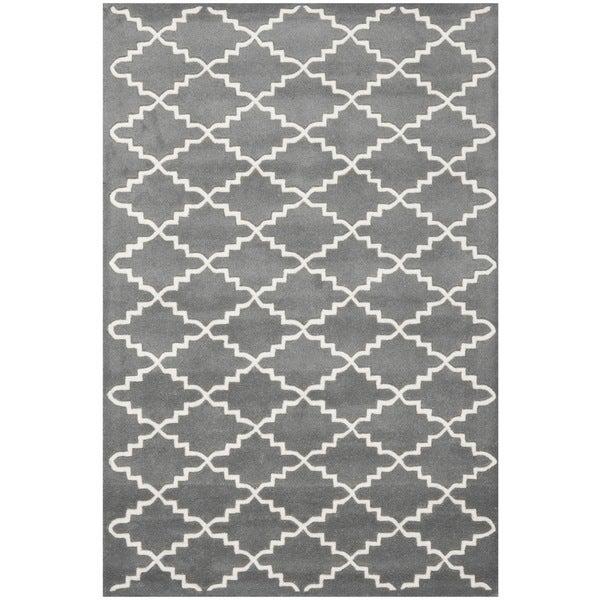 Safavieh Handmade Moroccan Dark Grey Geometric Wool Rug (4' x 6')