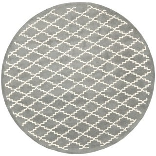 Safavieh Handmade Moroccan Chatham Dark Grey Wool Rug (7' Round)
