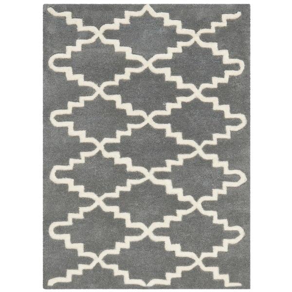Safavieh Handmade Moroccan Chatham Dark Grey Wool Rug - 2' X 3'