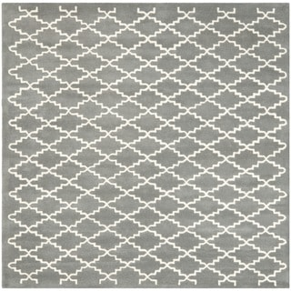 Safavieh Handmade Moroccan Dark Grey Crisscross Pattern Wool Rug (8'9 Square)