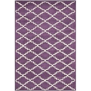 Safavieh Handmade Moroccan Purple Wool Geometric Rug (4' x 6')