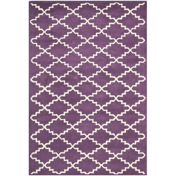 Safavieh Handmade Moroccan Purple Wool Geometric Rug (4' x 6') - 4' x 6'