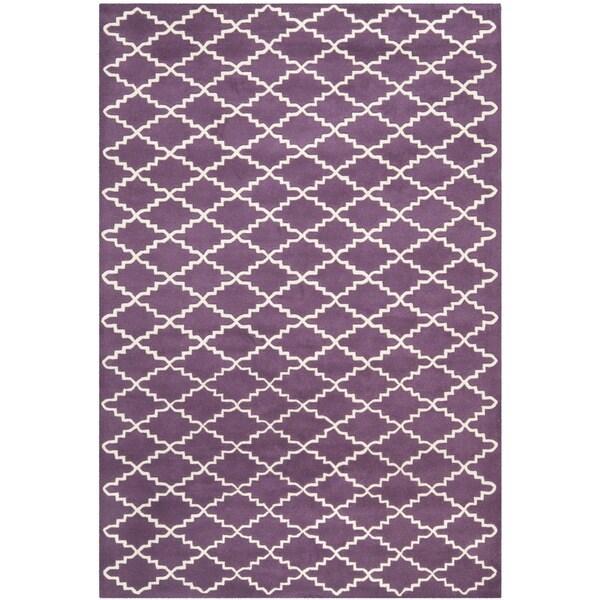 Safavieh Contemporary Handmade Moroccan Purple Wool Rug (6' x 9')