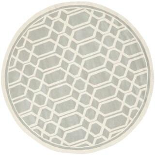 Safavieh Handmade Moroccan Chatham Geometric Grey Wool Rug (5' Round)
