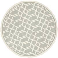 Safavieh Handmade Moroccan Chatham Geometric Grey Wool Rug - 5' Round