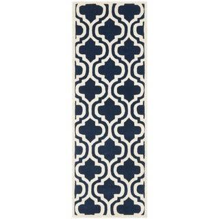 Safavieh Handmade Moroccan Chatham Dark Blue Wool Rug with Thick Pile (2'3 x 7')