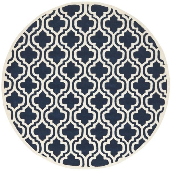 Safavieh Handmade Moroccan Chatham Dark Blue Wool Rug (7' Round)