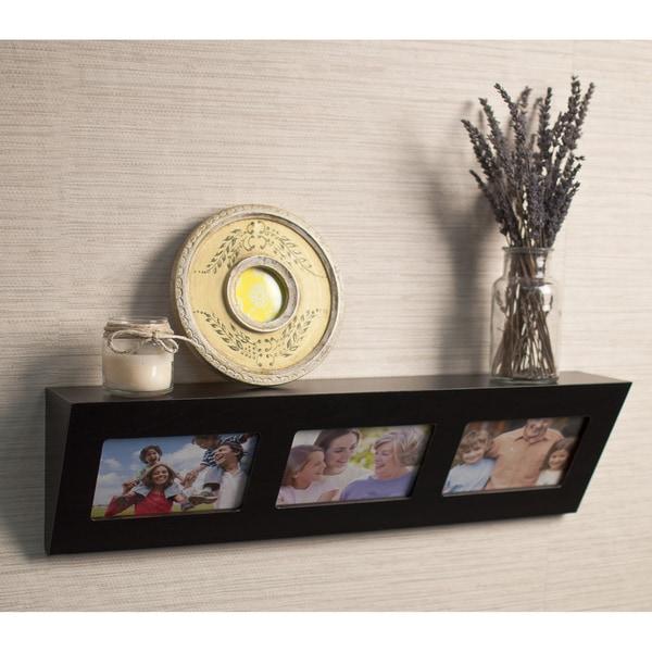Laminate Espresso Picture Frame Wall Shelf