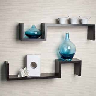 Danya B Espresso Laminated S-shape Wall Mount Shelves (Set of 2)