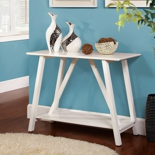 Furniture of America Wele Modern White Solid Wood Shelf Sofa Table