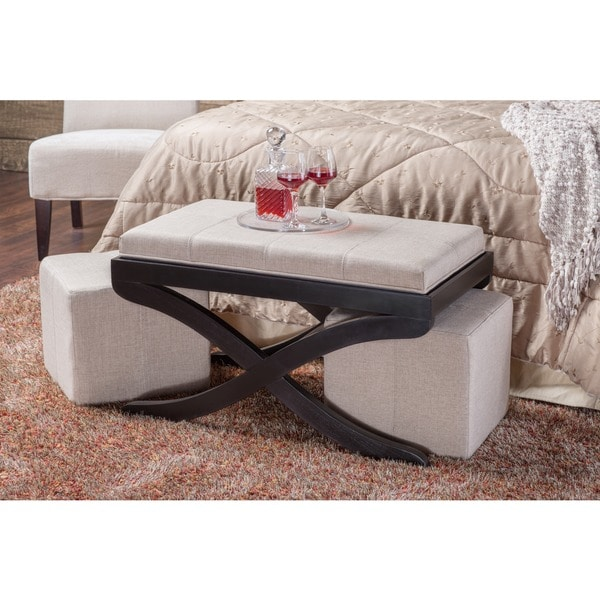furniture of america margo 3piece nesting ottoman with tray table