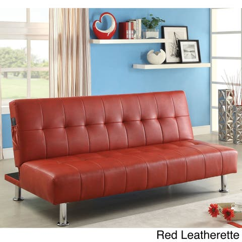 Modern White Tufted Sofabed with Storage Pockets by FOA