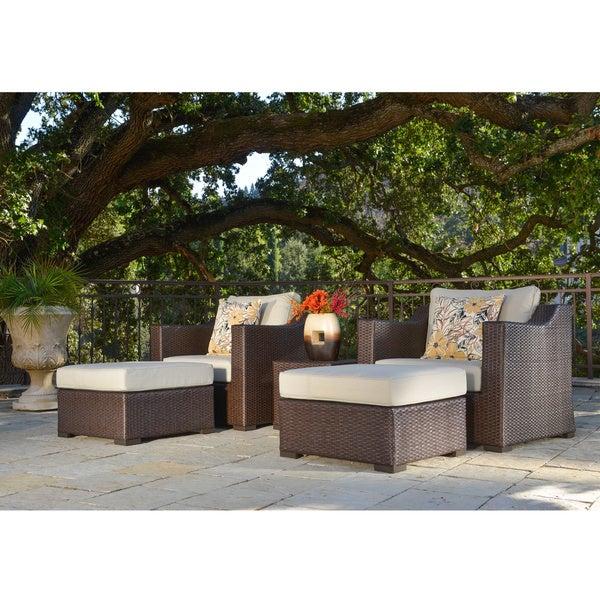 Corvus Matura 5-piece Patio Brown Wicker Club Chair Set