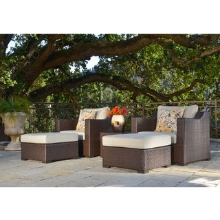 Corvus Matura 5-piece Patio Brown Wicker Club Chair Set