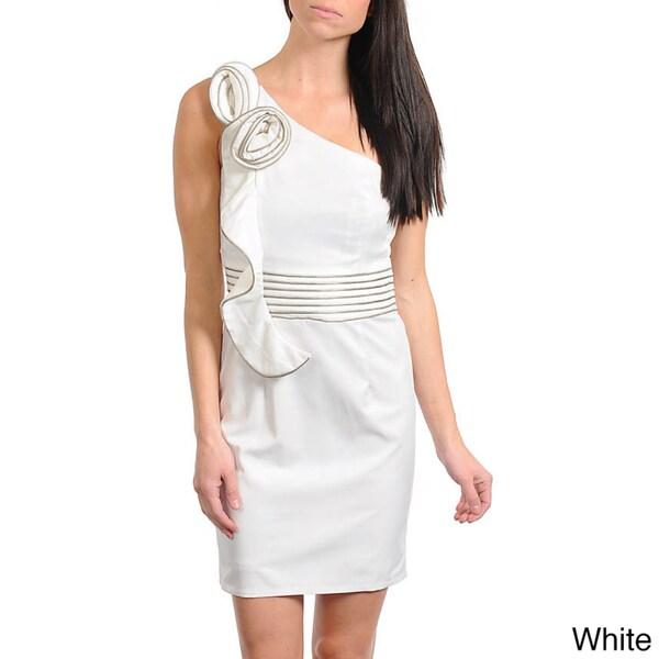 Stanzino Women's Floral Applique One Shoulder Dress