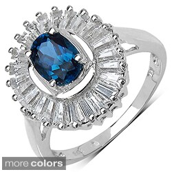 Sterling Silver Emerald or Blue Topaz and White Topaz Ring