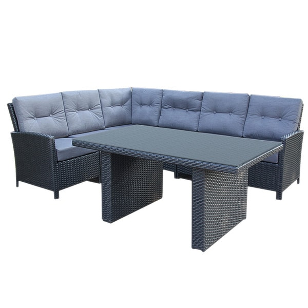 Firenze Corner Aluminum Black 7 Piece Sectional Outdoor