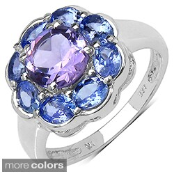 Sterling Silver Amethyst/ Tanzanite or Opal/ Tanzanite Ring