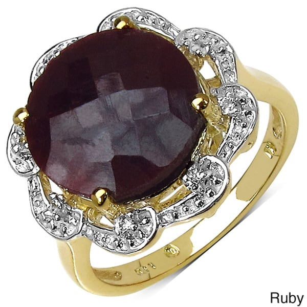 Gold over Silver Ruby or Smoky Quartz and White Topaz Ring