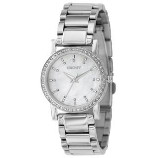 DKNY Women's Silver Stainless Steel Mother of Pearl Dial Quartz Watch|https://ak1.ostkcdn.com/images/products/7753062/7753062/DKNY-Womens-Silver-Stainless-Steel-Mother-of-Pearl-Dial-Quartz-Watch-P15150863.jpg?impolicy=medium