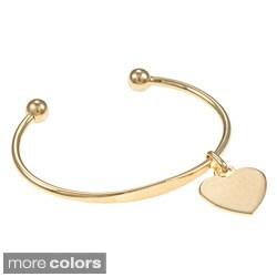 Sterling Essentials Silver 7-inch Heart ID Charm Cuff Bracelet