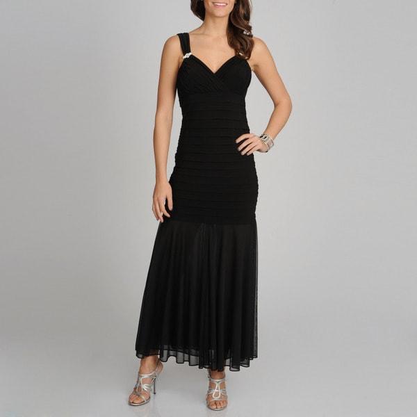 R & M Richards Women's Black Long Shutter Dress