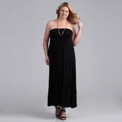 24/7 Comfort Apparel Women's Plus Maxi Tube Dress