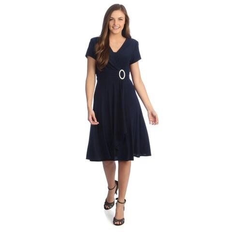R & M Richards Women's Polyester Cascading Ruffle-detailed Short-sleeve Dress