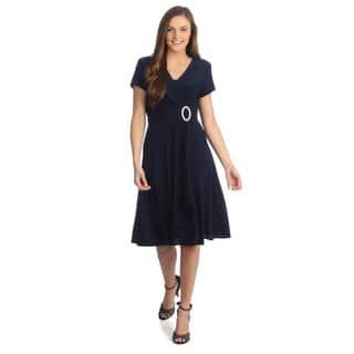 R & M Richards Women's Cascading Ruffle Detail Dress|https://ak1.ostkcdn.com/images/products/7753098/P15150896.jpg?impolicy=medium