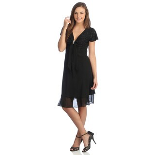 R & M Richards Women's Black Plunging V-neck with Crystal Applique Dress