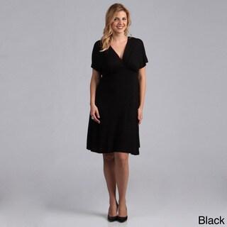 24/7 Comfort Apparel Women's Plus Size Black Empire Dress