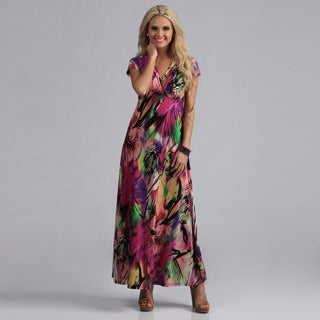 24/7 Comfort Apparel Women's Floral Maxi Dress