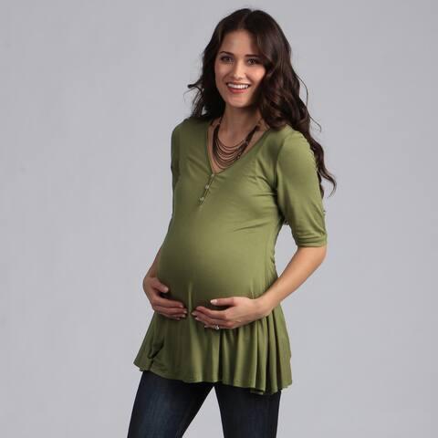 24/7 Comfort Apparel Women's Solid V-Neck Maternity Tunic
