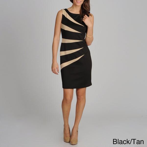 R & M Richards Women's 'Starburst' Colorblocked Sleeveless Dress